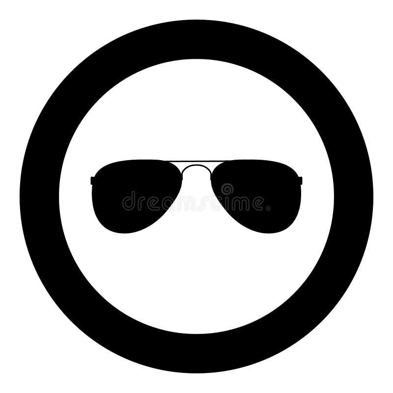 Couleur de noir d'icône en verre en cercle illustration stock