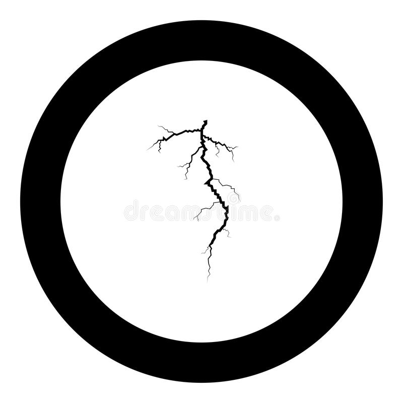 Couleur de noir d'icône de fente d'orage en cercle rond illustration stock