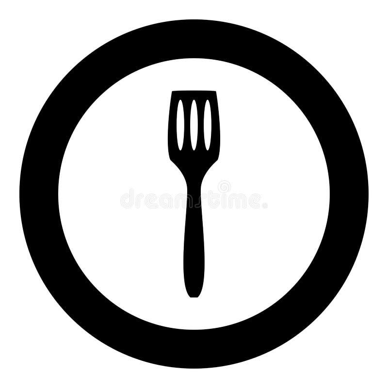 Couleur de noir d'icône de spatule de cuisine en cercle illustration stock
