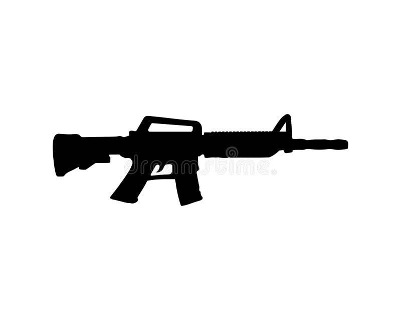 Couleur de noir de vecteur de silhouette d'arme à feu illustration stock