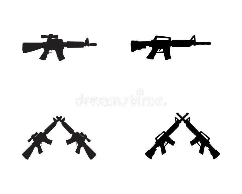 Couleur de noir de vecteur de silhouette d'arme à feu illustration libre de droits