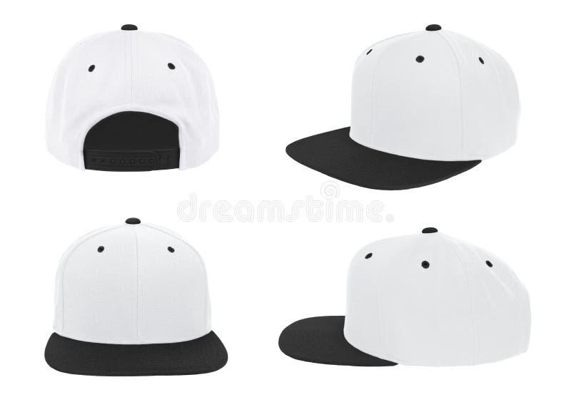 Couleur de ton vide du chapeau deux de relance de base-ball blanche/noir photo stock