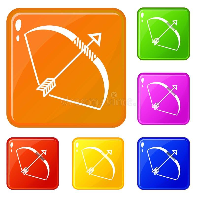 Couleur de vecteur d'ensemble d'icônes d'arc d'Elven illustration de vecteur