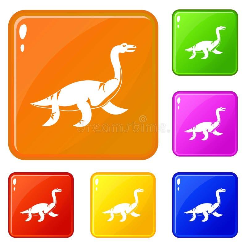 Couleur de vecteur d'ensemble d'icônes de dinosaure d'Elasmosaurine illustration stock