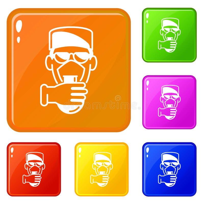Couleur de vecteur d'ensemble d'icônes d'homme de la science de chimie illustration de vecteur