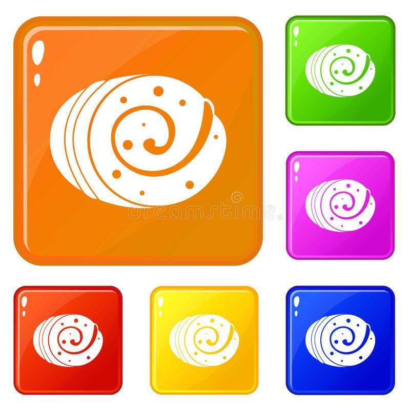 Couleur de vecteur d'ensemble d'icônes de pain de fruit illustration libre de droits