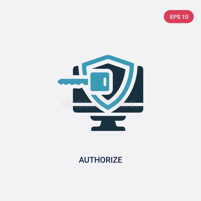 Couleur deux autoriser l'icône de vecteur du concept de programmation le bleu d'isolement autorisent le symbole de signe de vecte illustration stock
