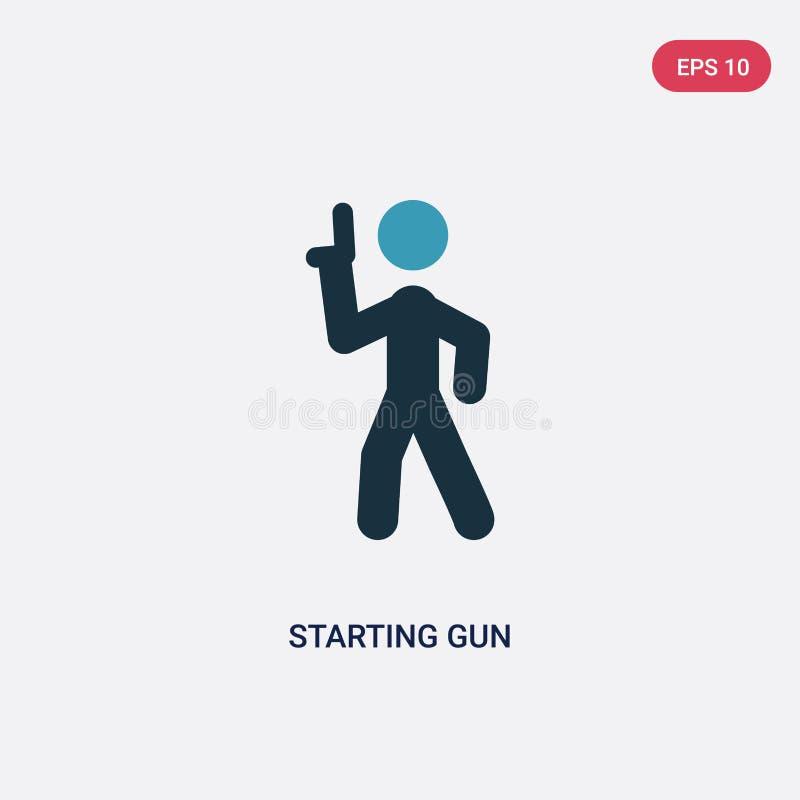 Couleur deux commençant l'icône de vecteur d'arme à feu des sports et du concept de concurrence le symbole commençant bleu d'isol illustration de vecteur