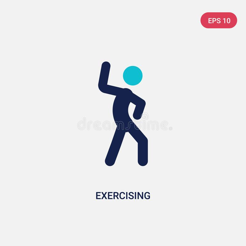 couleur deux exerçant l'icône de vecteur de l'activité et du concept de passe-temps le symbole de exercice bleu d'isolement de si illustration stock