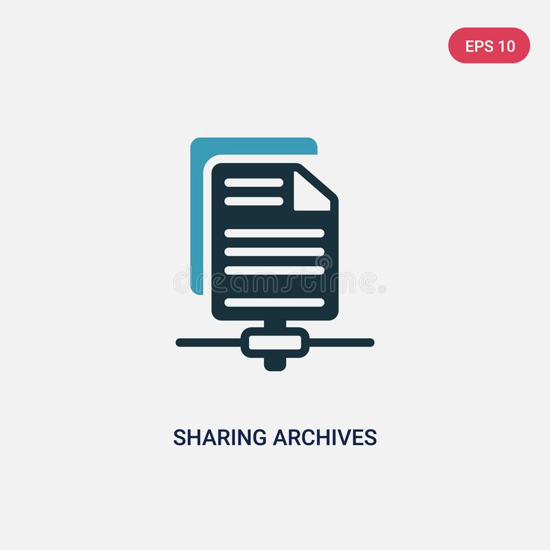 Couleur deux partageant l'icône de vecteur d'archives du concept de seo et de Web le symbole partageant bleu d'isolement de signe illustration libre de droits