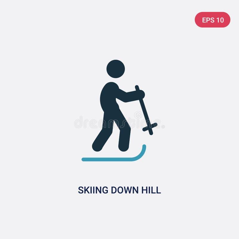 Couleur deux skiant en bas de l'icône de vecteur de colline du concept de sports le ski bleu d'isolement en bas du symbole de sig illustration stock