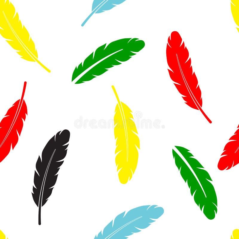 Couleur différente de modèle de plume pour le papier et le tissu photo libre de droits