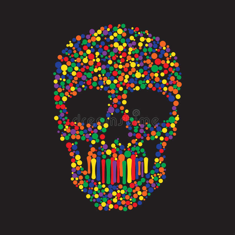 Couleur Dots Skull illustration de vecteur