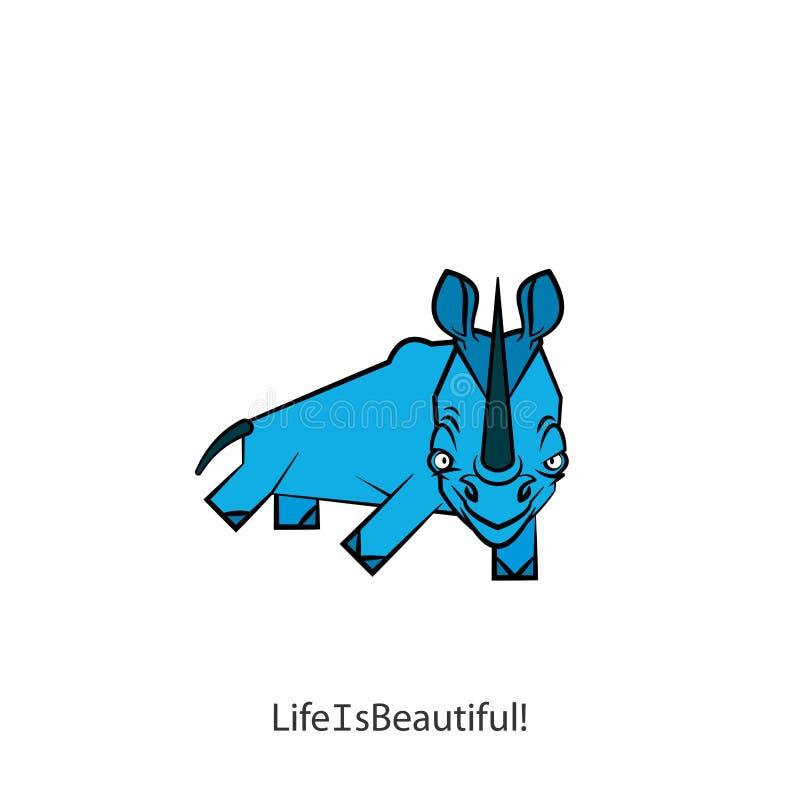 Couleur drôle de rhinocéros illustration de vecteur