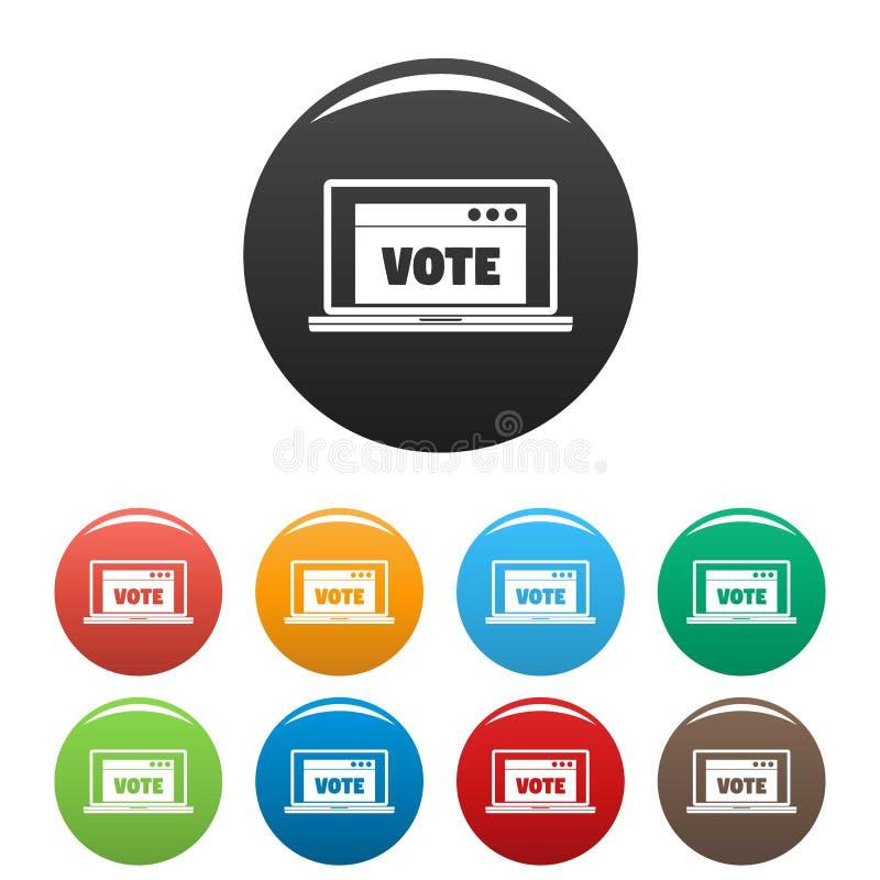 Couleur en ligne d'ensemble d'icônes de vote illustration stock