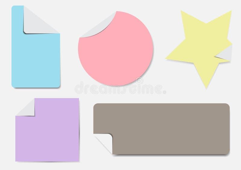 Couleur en pastel d'ensemble de labels image stock