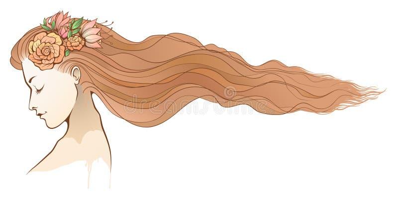 Couleur florale de fille chaude illustration libre de droits