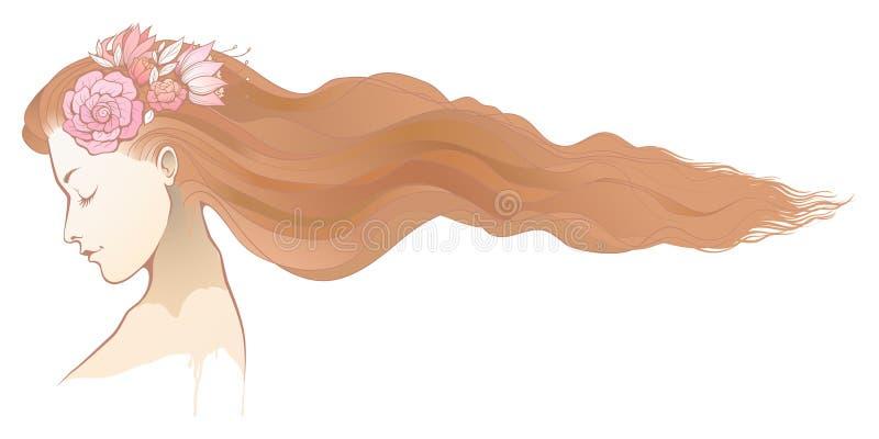 Couleur florale de fille pâle illustration libre de droits