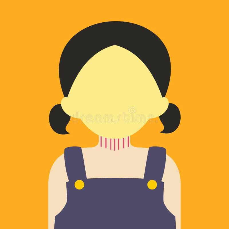 Couleur graphique de fond de jeune fille de personnes d'illustration mignonne de vecteur illustration libre de droits