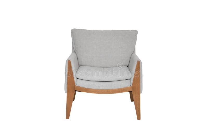 Couleur grise et en bois Sofa Armchair d'isolement sur le fond blanc photographie stock