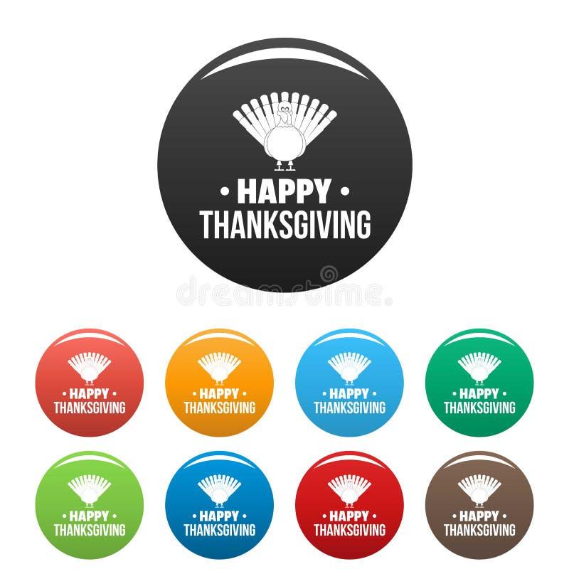 Couleur heureuse d'ensemble d'icônes de thanksgiving de la Turquie illustration libre de droits