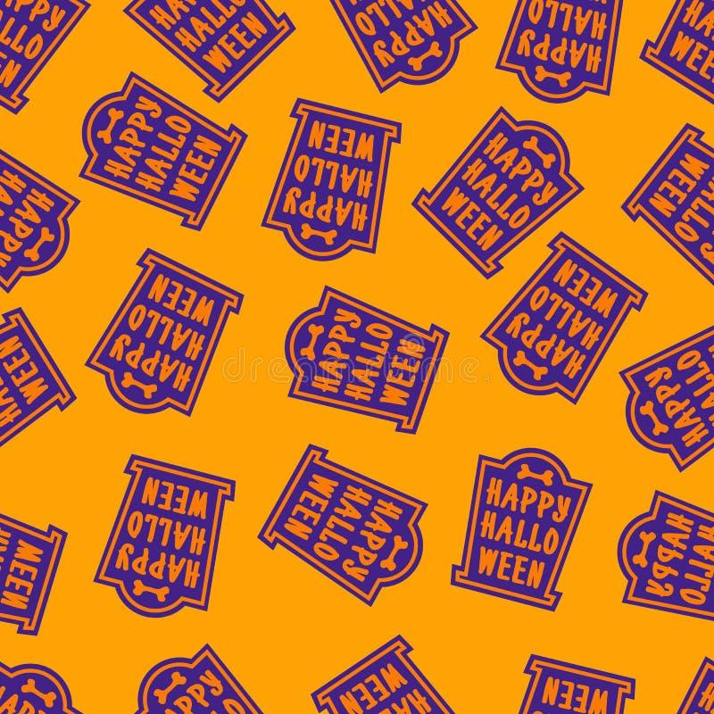 Couleur heureuse de tombe de modèle de Halloween sur le fond jaune pour la fête de vacances de décoration, affiche illustration de vecteur