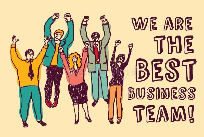 Couleur heureuse de travailleurs de la meilleure équipe d'affaires illustration stock