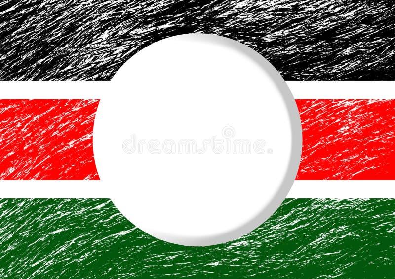Couleur kenyane de drapeau avec le cercle blanc illustration libre de droits