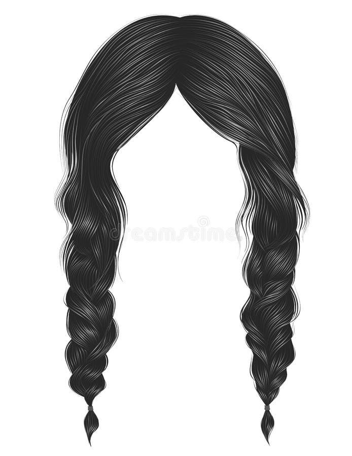 Couleur ? la mode de gris de poils de femmes deux tresses Style de beaut? de mode illustration stock