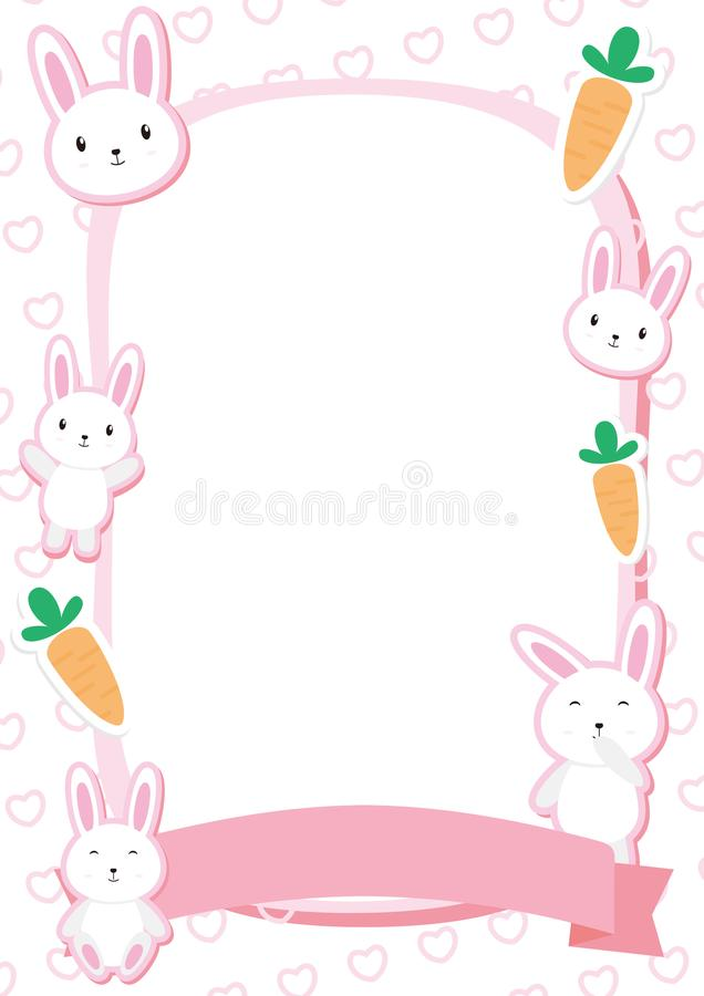 Couleur mignonne de Bunny Frame Vector With Pink illustration stock