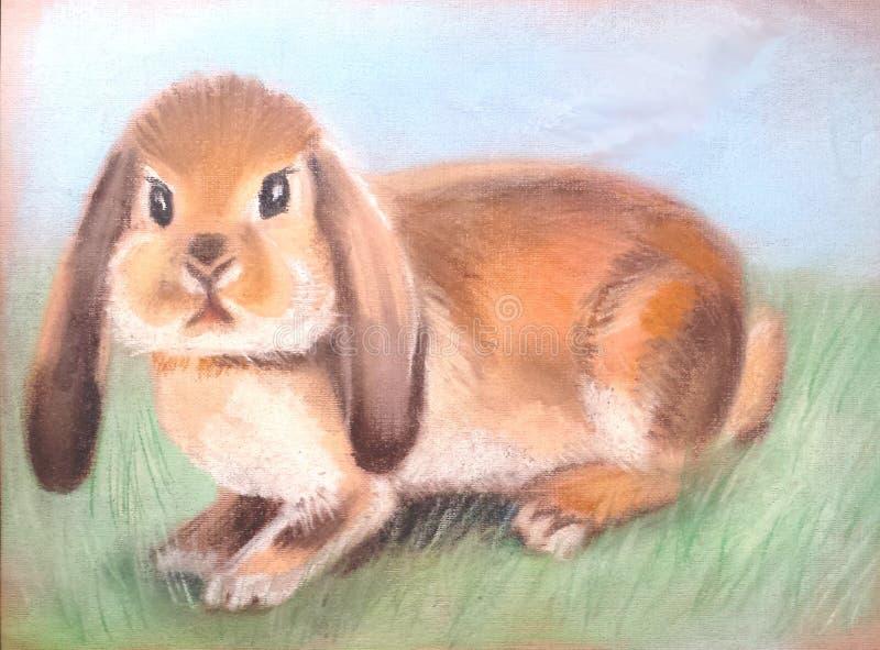 Couleur mignonne pelucheuse de pêche de lapin illustration stock