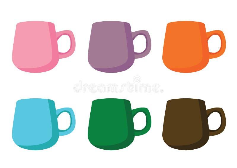 Couleur multi de tasse de café et brun vert bleu orange pourpre de rose multi de couleur de beaucoup de tasses de café illustration de vecteur