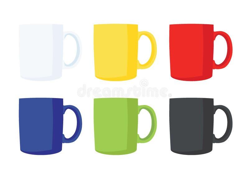 Couleur multi de tasse de café et noir vert bleu rouge jaune blanc de couleur multi de beaucoup de tasses de café illustration libre de droits