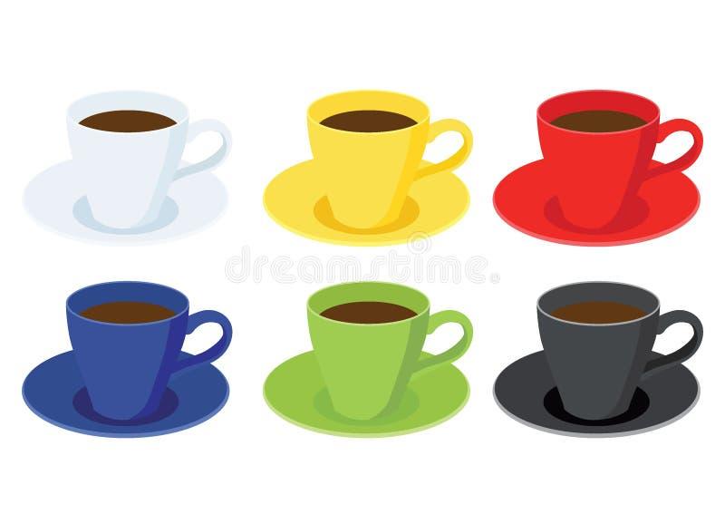 Couleur multi de tasse de café et noir vert bleu rouge jaune blanc de couleur multi de beaucoup de tasses de café illustration de vecteur
