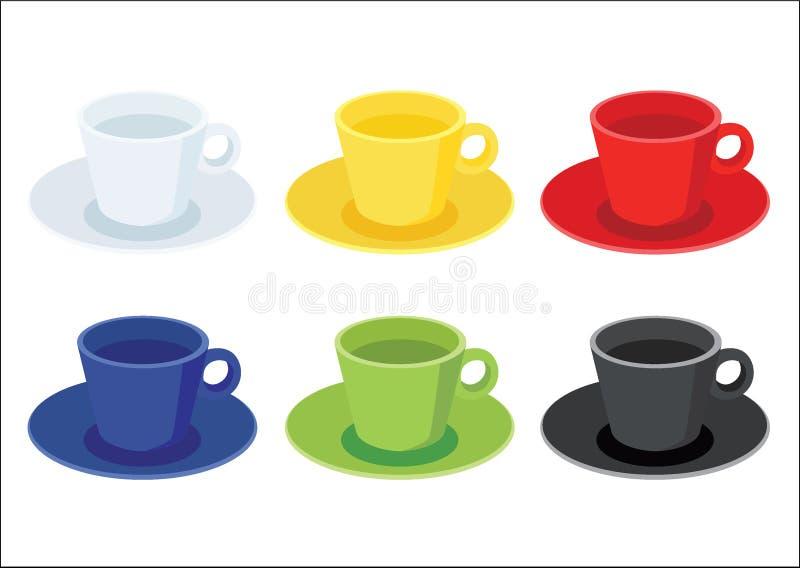 Couleur multi de tasse de café et noir vert bleu rouge jaune blanc de couleur multi de beaucoup de tasses de café illustration stock