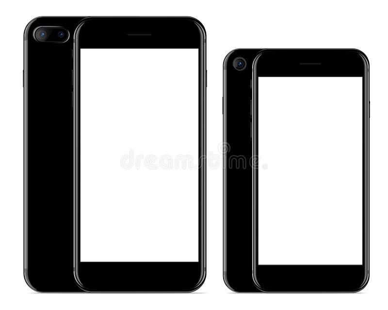 Couleur noire d'avant et de dos de téléphone de maquette de dessin de vecteur sur le fond blanc illustration libre de droits