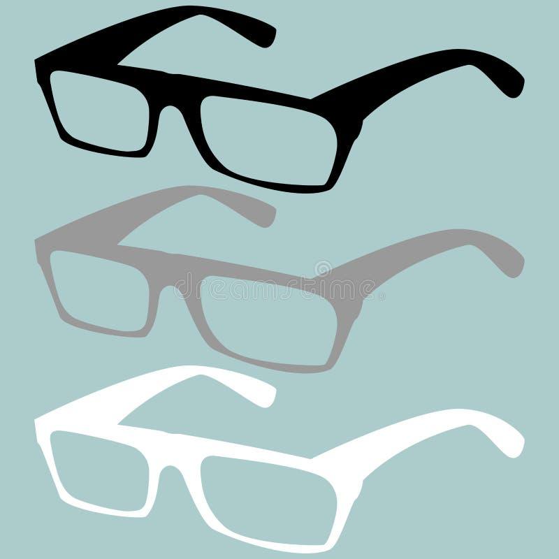 Couleur noire de blanc gris de lunettes illustration stock