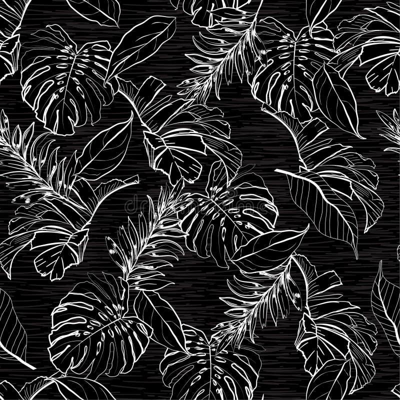 Couleur noire et blanche monotone élégante de le floral et tropical illustration de vecteur