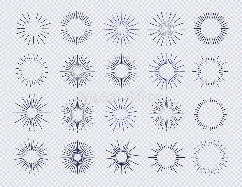 Couleur noire réglée de rayon de soleil d'isolement sur le fond transparent illustration stock