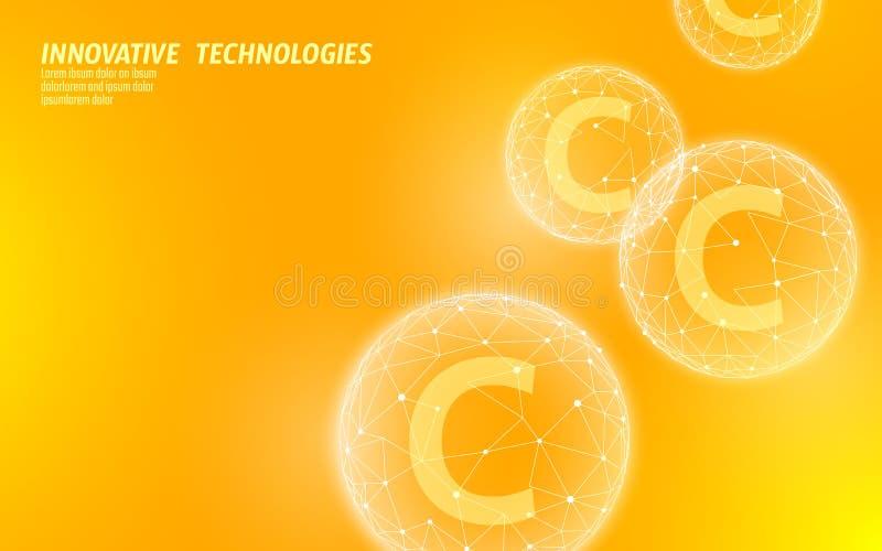 Couleur orange lumineuse de basse poly sphère de vitamine C Traitement complexe de grippe d'annonce anti-vieillissement de cosmét illustration de vecteur
