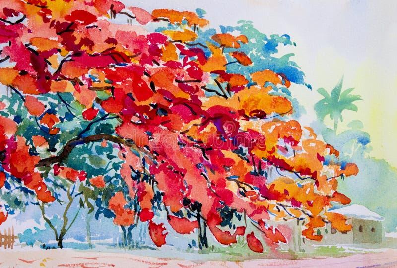 couleur orange rouge de peinture originale de paysage d 39 aquarelle des fleurs de paon. Black Bedroom Furniture Sets. Home Design Ideas