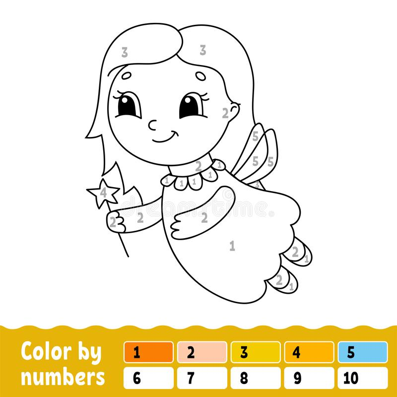 Couleur par des nombres Livre de coloriage pour des enfants Caract?re gai Illustration de vecteur Style mignon de bande dessin?e  illustration libre de droits