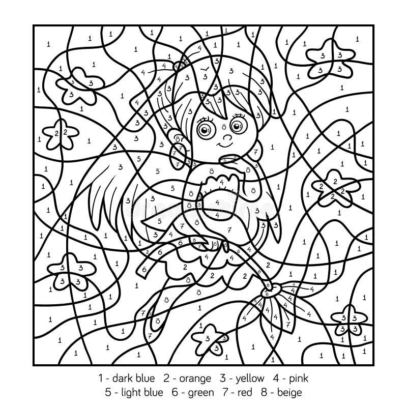 Couleur par le nombre, fille féerique illustration stock