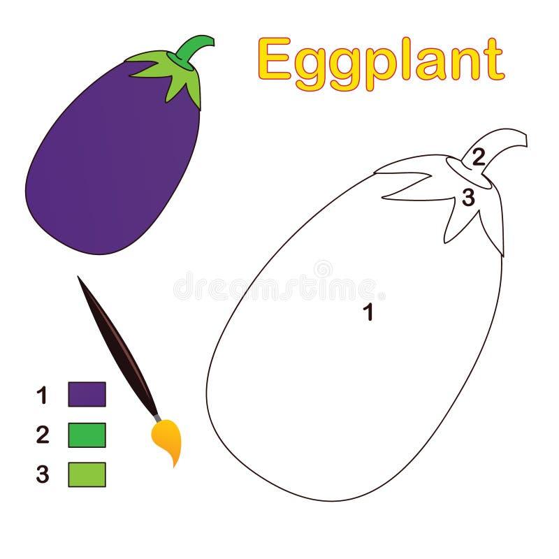 Couleur par numéro : aubergine illustration stock