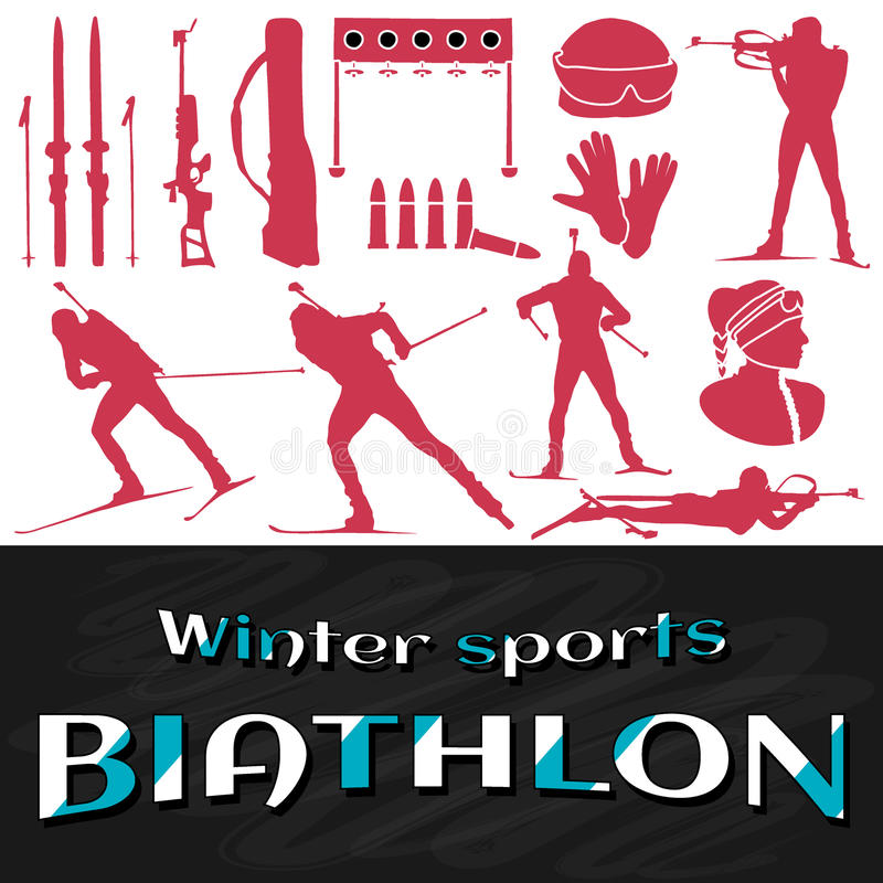 Couleur plate de rose de biathlon de conception illustration libre de droits