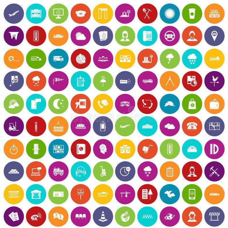 100 couleur réglée d'expéditeur par icônes illustration de vecteur