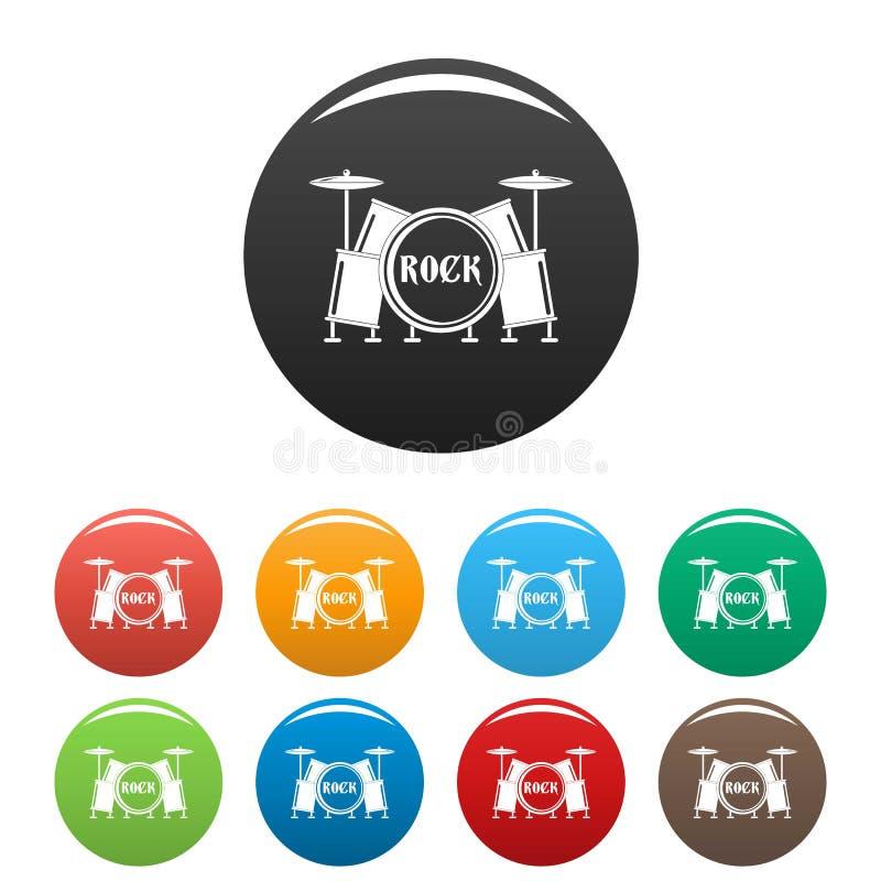 Couleur réglée d'icônes de tambours de roche illustration libre de droits