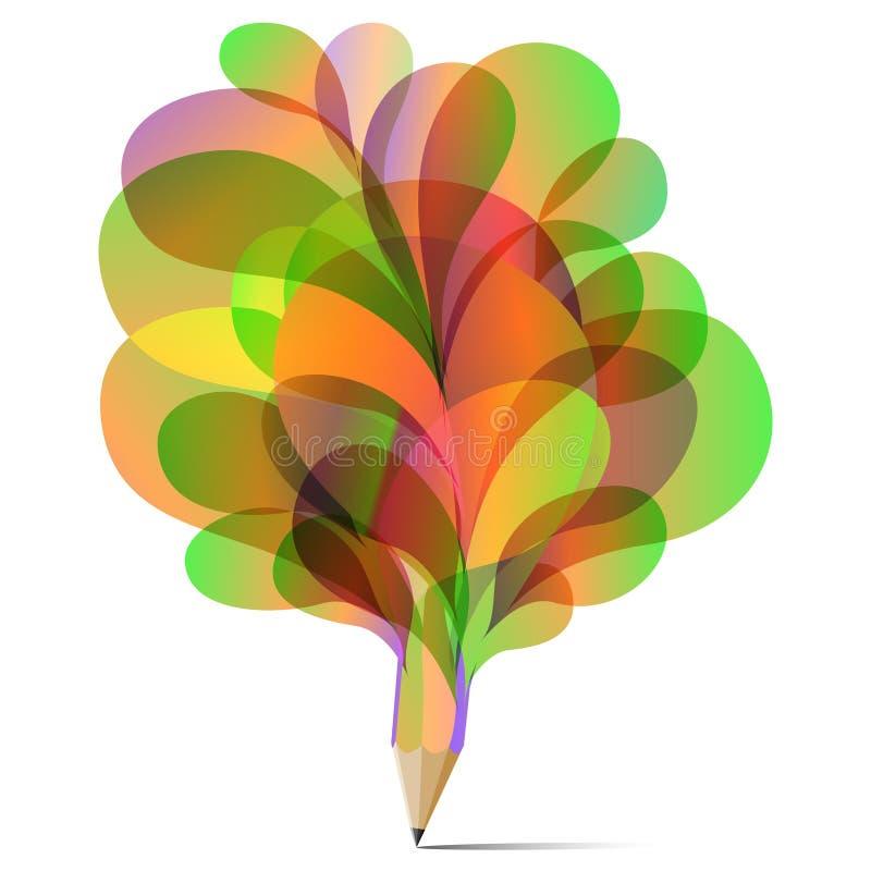 Couleur réglée de concept de texture de crayon de vert de bulle d'art, jaune et rouge illustration stock