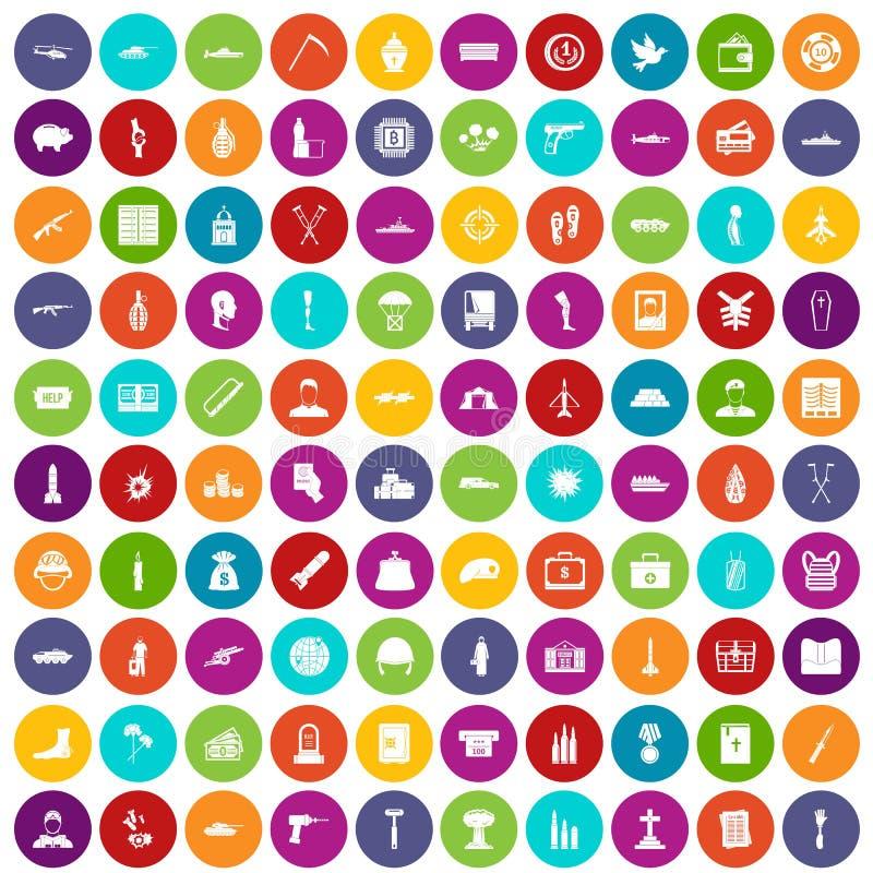 100 couleur réglée de crimes de guerre par icônes illustration de vecteur