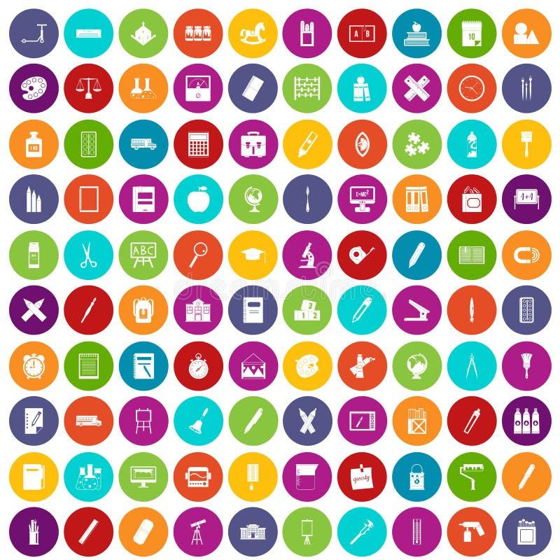 100 couleur réglée de papeterie par icônes illustration de vecteur